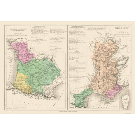 International Map Garonne And Rhone Rivers France Drioux 1882