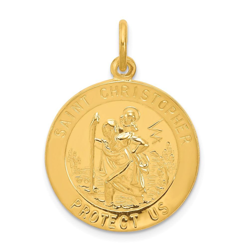 Sterling Silver 24k Gold-plated Engravable Saint Christopher Medal