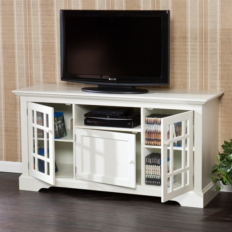 "Southern Enterprises Cullerton 55"" TV Stand in Off-White"