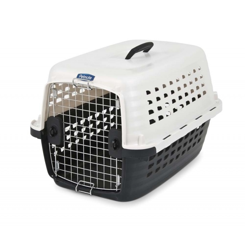 "Petmate Compass Kennel - Metallic White & Black Small - For Dogs 10-20 lbs - (24.6""L x 16.9""W x 15""H)"