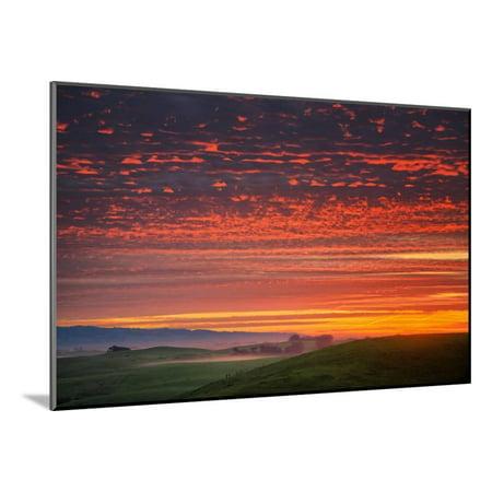 Heavenly Sunrise Burn, Northern California Wood Mounted Print Wall (Heavenly California)