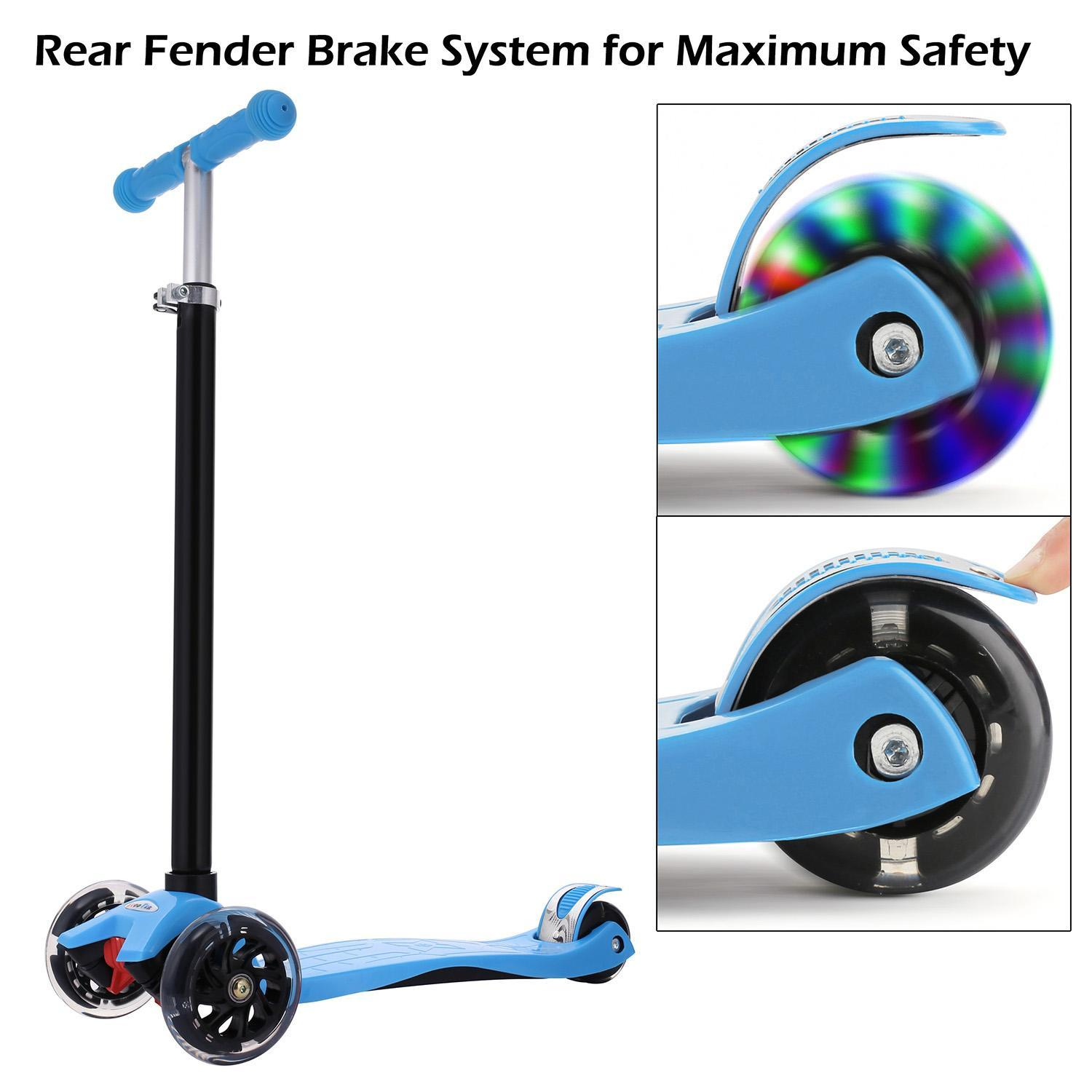 3 Wheel Kick Scooter for Kids Boys Girls Adjustable Height Aluminum Alloy