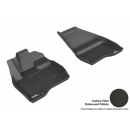 Black Ford Explorer (3D MAXpider 2015-2016 Ford Explorer Front Row All Weather Floor Liners in Black with Carbon Fiber Look )
