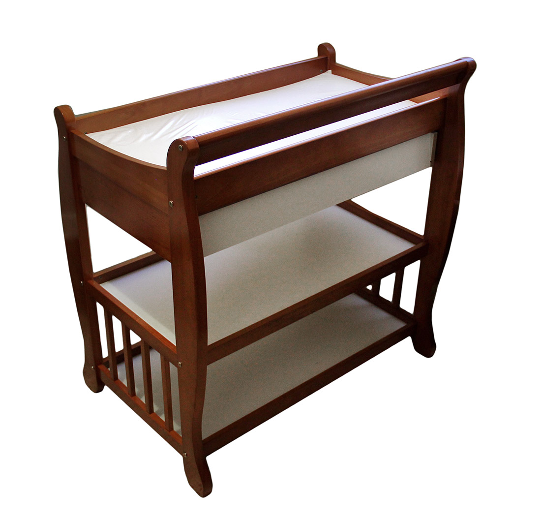 Tuscany Solid Wood Sleigh 2 Shelf Cognac Finish Changing Table W/Drawer    Walmart.com