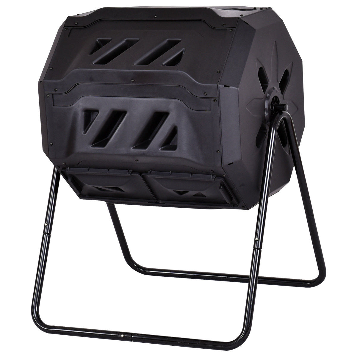 Costway Compost Tumbler 43-Gallon Garden Waste Bin Grass Food Trash Barrel Fertilizer by Costway