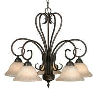Golden Lighting Homestead 5 Light Nook Chandelier - Rubbed Bronze Finish
