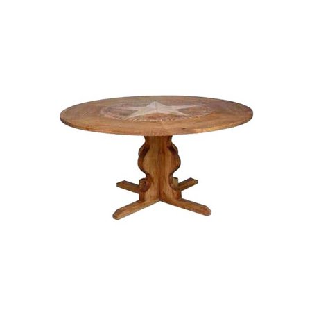 round pedestal table w marble inlay small