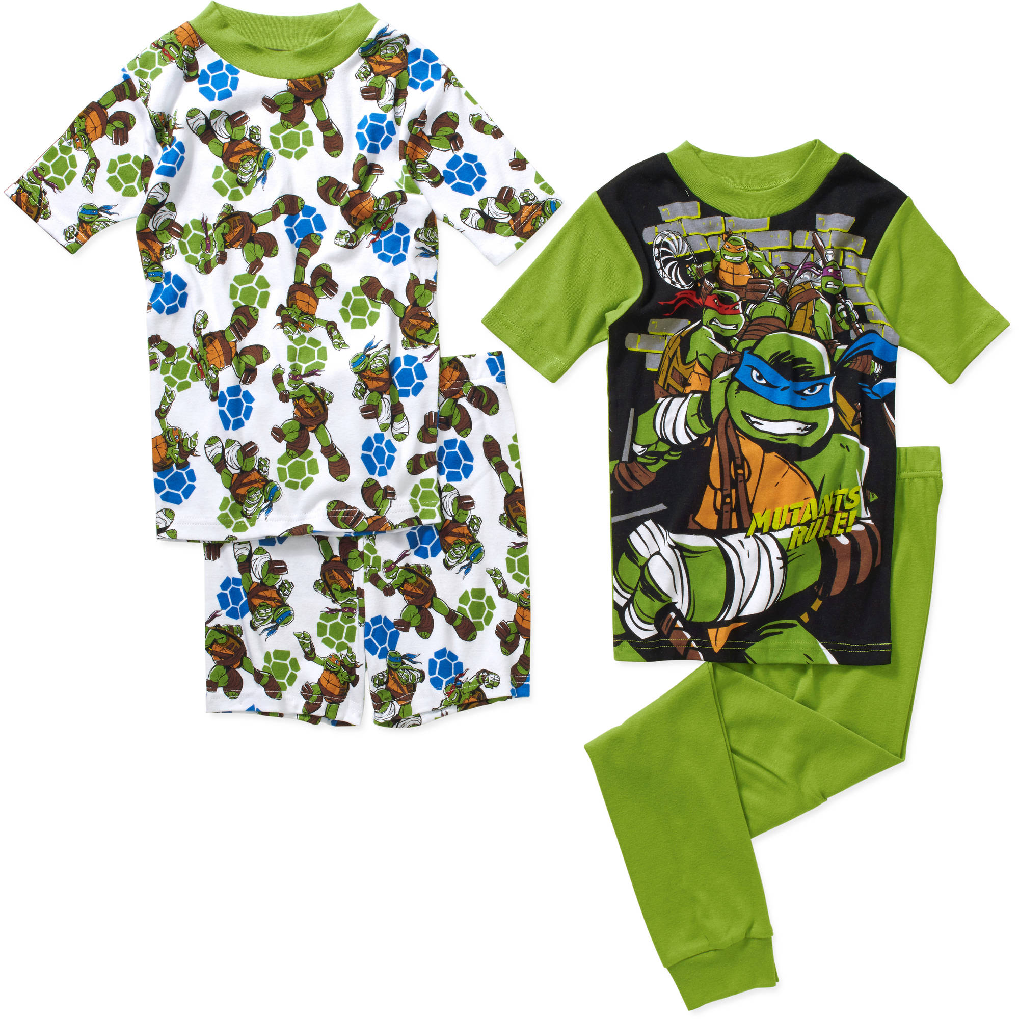 Teenage Mutant Ninja Turtles Boys' License Tight Fit Cotton Short Sleeve Sleep Shirt with Shorts and Pants 4 Piece Pajama Set