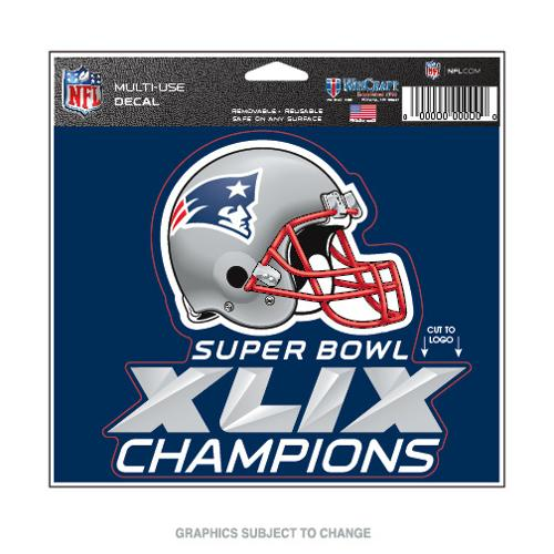 New England Patriots Official NFL 4 inch x 6 inch  Super Bowl 49 Champions MultiUse Car Decal by WinCraft