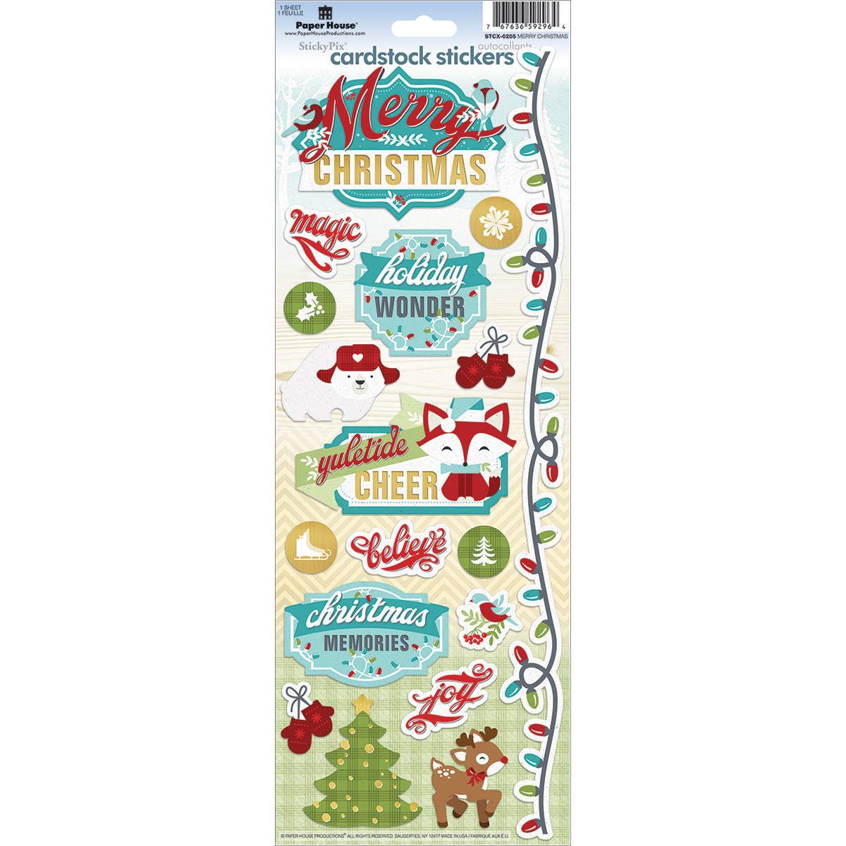 "Paper House Cardstock Stickers 4.625""X13""-Merry Christmas"