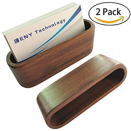 2 pack business card display fc energy holder brown walnut wood