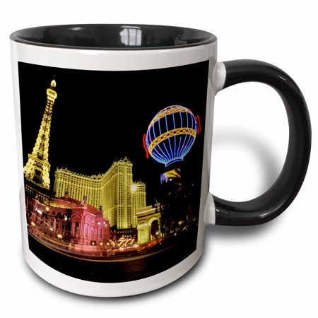 3dRose Paris Hotel and Casin at Las Vegas Strip United States - Two Tone Black Mug, (37789 Roses)