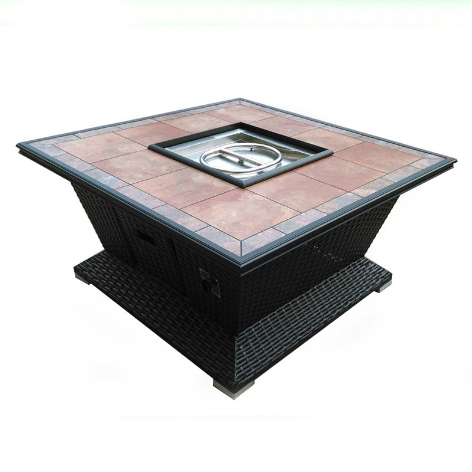 Tretco 48 in. Square Wicker Gas Fire Pit
