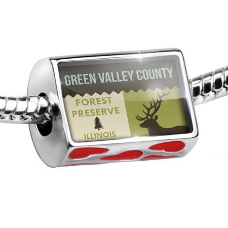 Bead National US Forest Green Valley County Forest Preserve Charm Fits All European Bracelets
