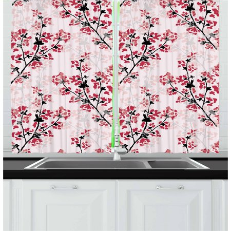 Floral Curtains 2 Panels Set  Nature Inspired Blush Hazy Flowers On Tree Branches Romantic Season Art Design  Window Drapes For Living Room Bedroom  55W X 39L Inches  Rose Ruby Black  By Ambesonne