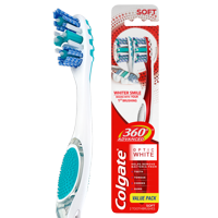 360 Advanced Optic White Toothbrush, Soft - 2 Count