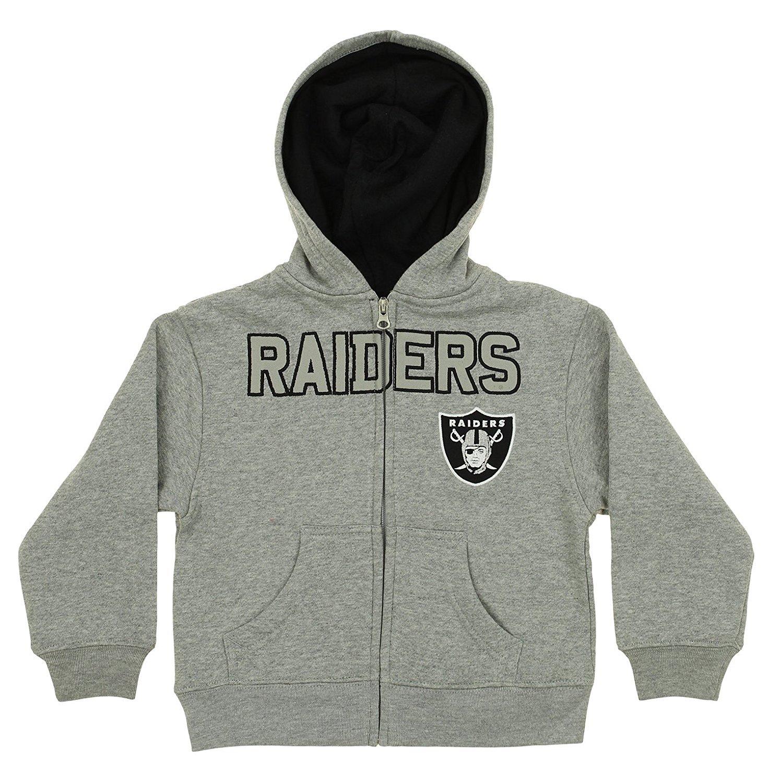 OuterStuff NFL Kids Oakland Raiders Stated Full-zip Fleece Hoodie, Gray