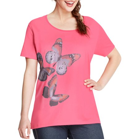 2224d7b2e9e Just My Size - by Hanes Women s Plus-Size Watercolor Graphic Tee ...