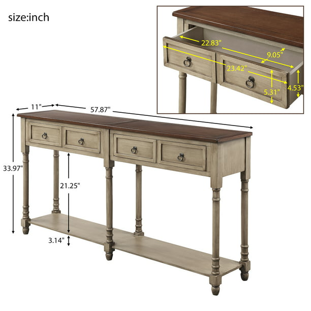 58'' x 11'' x 34'' Tall Console Table with 4 Storage Drawers, Wood