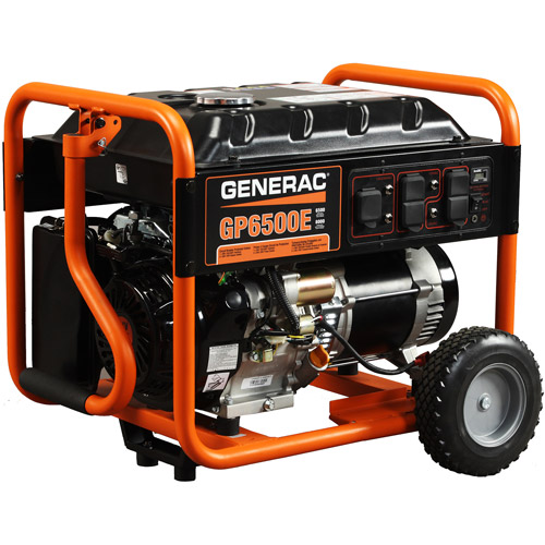Generac 5941 GP6500E, 6,500 Watt Portable Gas Powered Generator with Electric Start (Non-CARB Compliant)