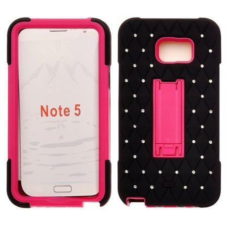 Galaxy Note 5 Case, Heavy Duty Armor Diamond Rhinestone Hybrid Case with Kickstand for Samsung Galaxy Note 5 - Black/Hot (Samsung Galaxy Note 3 Vs Note 2 Specs)