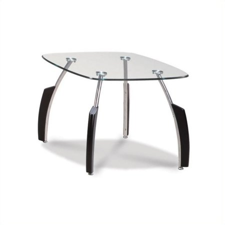 Global Furniture Glass Coffee Table With Wenge Curved Base