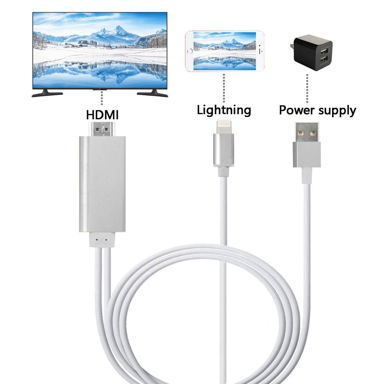 Lightning To Hdmi Cable Mirroring Iphone Ipad Screen Tv Digital Av Lcd Kabel X 8 7 6 5 3 4 Ipod Projector Monitor Adapter 1080p For Ios Devices Silver Walmart