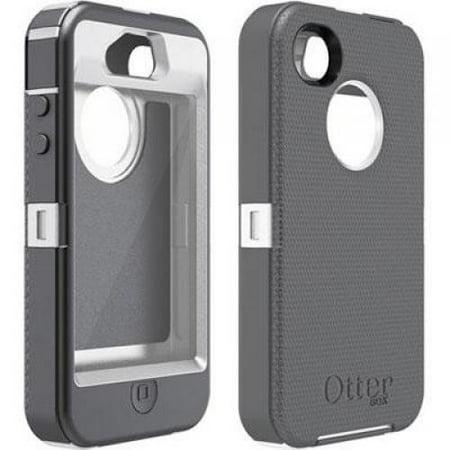 otterbox defender case for iphone 4 4s white gray. Black Bedroom Furniture Sets. Home Design Ideas