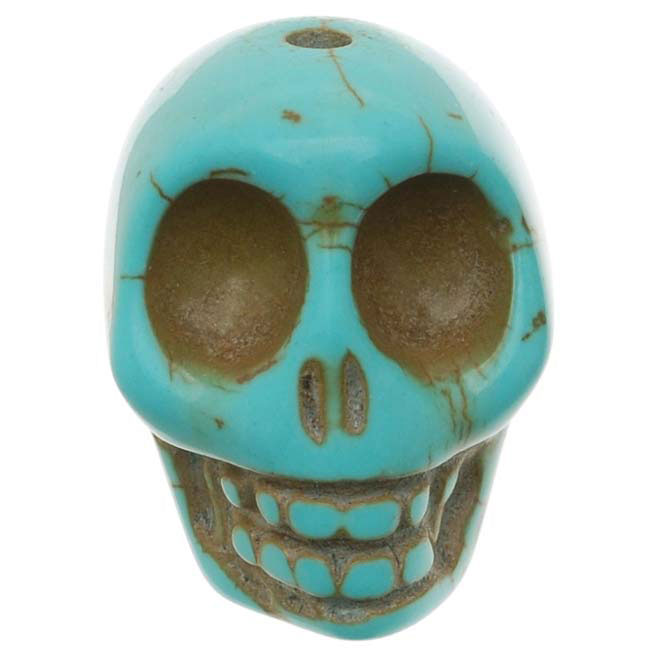 Turquoise Magnesite (Dyed)  Gemstone Beads Carved Skulls 18x21mm (4)