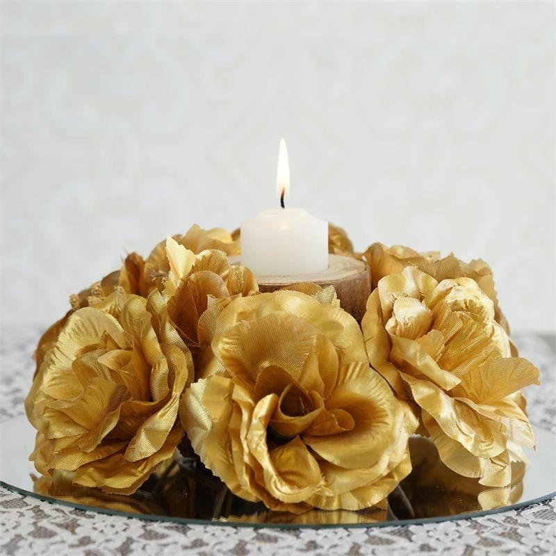 Efavormart 8 pcs Artificial ROSES Flowers Candle Rings for DIY Wedding Centerpieces Arrangements Party Home Decorations Wholesale