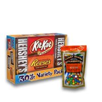 Hershey's Chocolate Full-Size Variety Pack, 30 ct. Plus 8oz Coney Island Rainbow Gumballs Perfect For All Ocassions Halloweeen, Back to school, Thanksgiving, Christmas, New Years,Valentines day