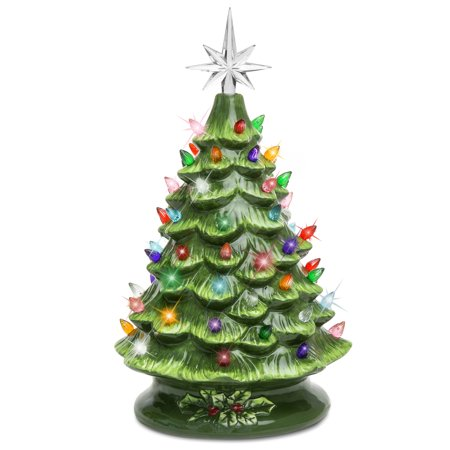Best Choice Products 15in Pre-Lit Hand-Painted Ceramic Tabletop Christmas Tree w/ 64 Lights, Star Topper - Green Indoor Christmas Decorations