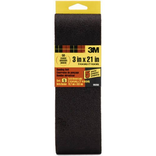 3M 99266NA Sanding Belt Coarse 50-Grit, 3  21-Inch, 5-Pack 3 x 21 Inches
