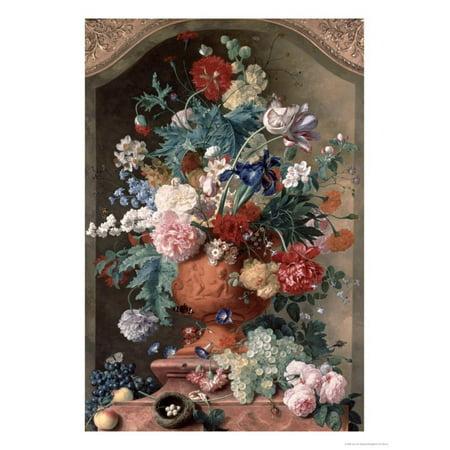 Flowers in a Terracotta Vase, 1736 Print Wall Art By Jan van Huysum ()