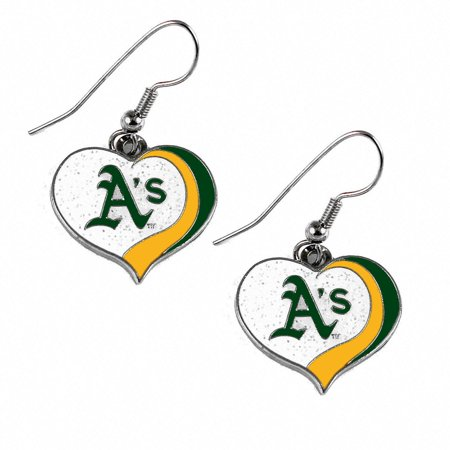 MLB Glitter Heart Earrings Dangle Charm Team Logo PICK YOUR TEAM w/Gift Box