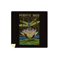 Puerto Rico - Dragonfly Mosaic - Lantern Press Artwork (88x88 Queen Microfiber Duvet Cover)