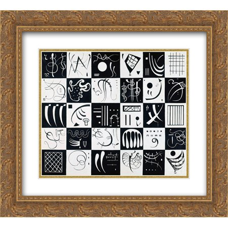 206 Matt - Wassily Kandinsky 2x Matted 24x20 Gold Ornate Framed Art Print 'Thirty'