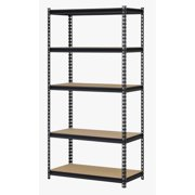 "Muscle Rack 36""W x 18""D x 72""H Five-Shelf Steel Shelving Unit, 4000 lb Capacity, Black"