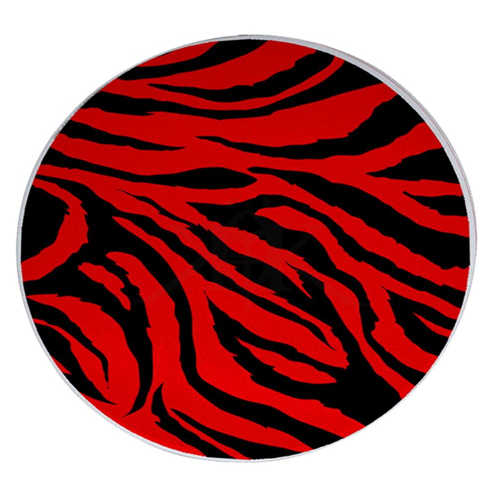 "KuzmarK 12"" Round Glass Cutting Board - Red Zebra"
