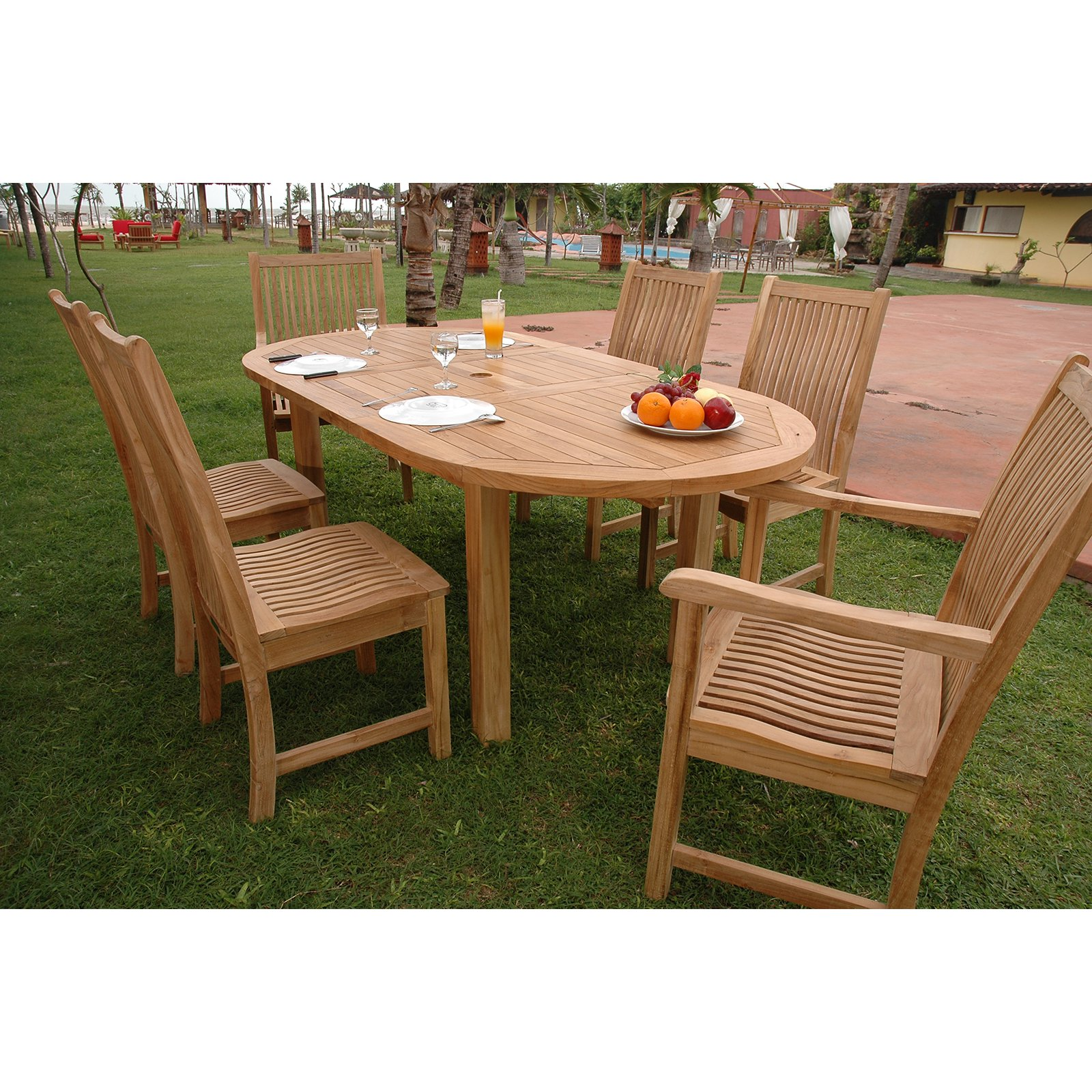 Click here to buy Anderson Teak Chicago 7 Piece Oval Patio Dining Room Set by Anderson.