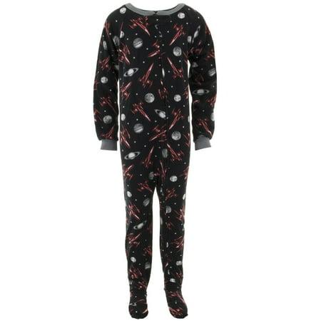Black Footed Pajamas - Quad Seven Boys Space Rockets Black Footed Pajamas