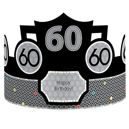 Adult 60th Birthday - Crown Happy Birthday Party Hats - 8 Count
