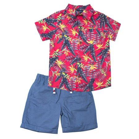 Kids 50s Outfit (Little Rebels Short Sleeve Tropical Print Shirt and Twill Pul On Shorts, 2-Piece Outfit Set (Little)