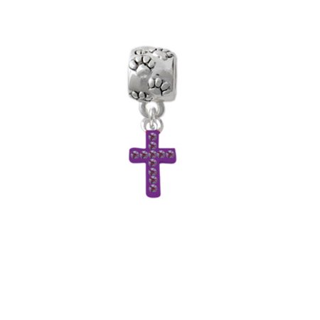 Small Purple Crystal Cross - Paw Print Charm Bead