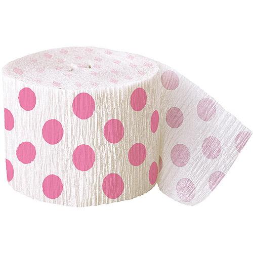 30' Crepe Paper Hot Pink Polka Dot Streamers