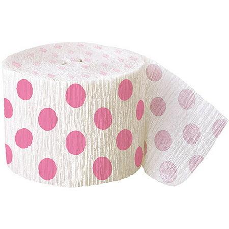 Hot Pink Polka Dot Crepe Paper Streamers, 30ft - Hot Pink Polka Dot