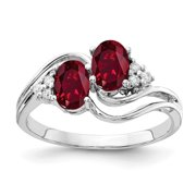 Primal Gold 14 Karat White Gold 6x4mm Oval Created Ruby and AAA Diamond Ring