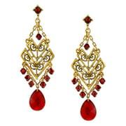 T.R.U. Red Crystal Chevron Chandelier Earrings