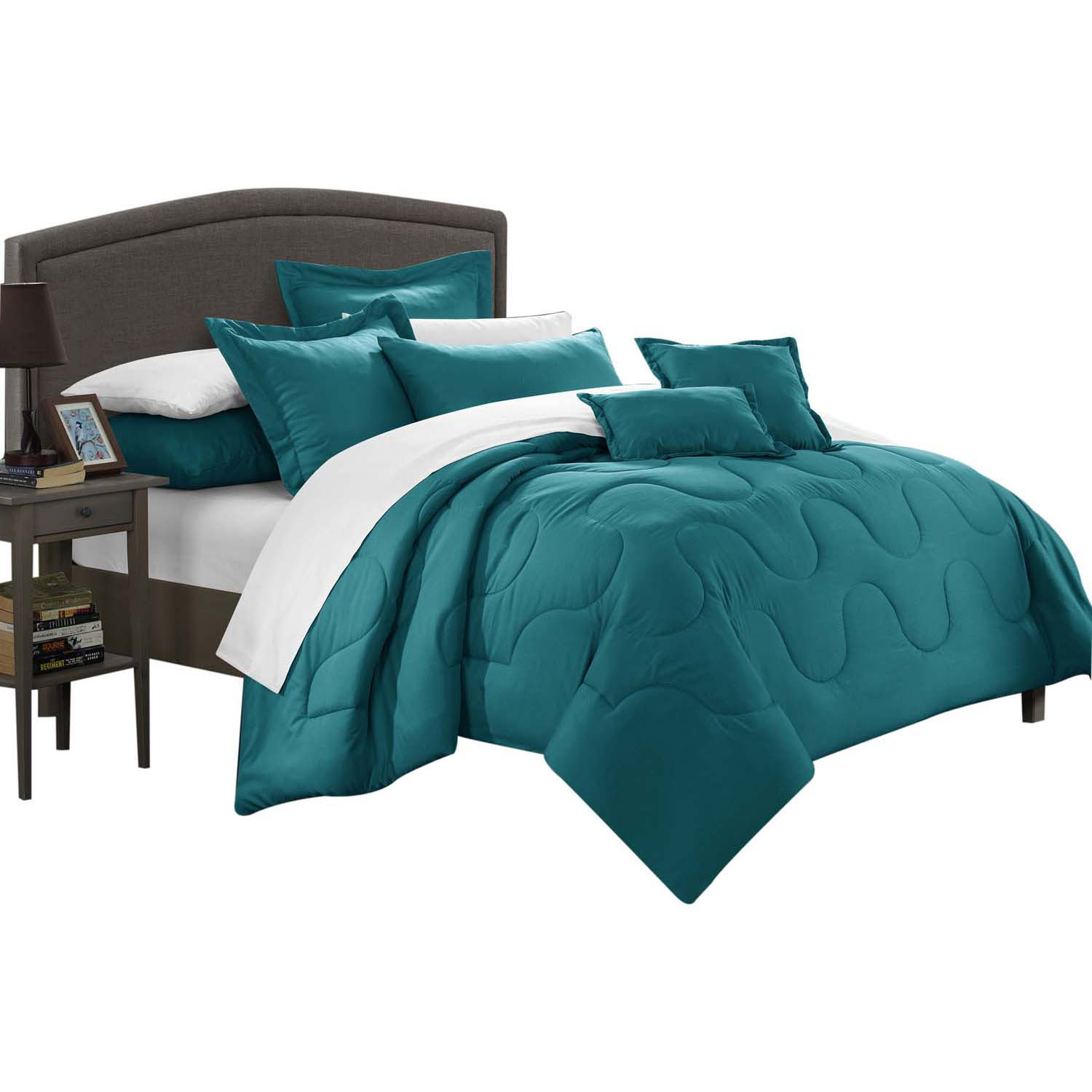 Dinarelle Donna Jacquard 7 Piece Comforter Bed In A Bag King Teal