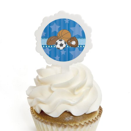 All Star Sports - Cupcake Picks with Stickers - Baby Shower or Birthday Party Cupcake Toppers - 12 Count](All Star Cupcakes)